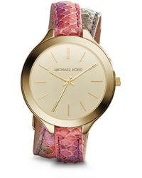 Michael Kors Slim Runway Gold-Tone Embossed-Leather Watch - Lyst