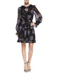 Michael Kors Floral-print Peasant Dress - Lyst