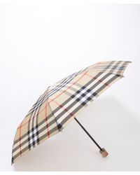 Burberry Beige Nova Check Pattern Compact Umbrella - Lyst