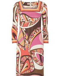 Emilio Pucci Printed Stretch-jersey Mini Dress - Lyst
