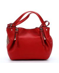 Burberry Cadmiun Red Leather And Check Canvas 'Maidstone' Zip Convertible Small Tote Bag - Lyst