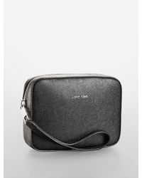 Calvin Klein Galey Saffiano Leather Wristlet Cosmetic Case - Lyst