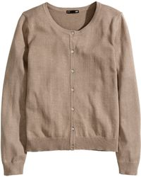 H&M Brown Fine-knit Cardigan - Lyst