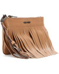 Miu Miu Leather Fringe Clutch - Lyst