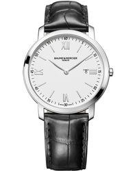 Baume & Mercier | Classima Stainless Steel & Alligator Strap Watch/white | Lyst