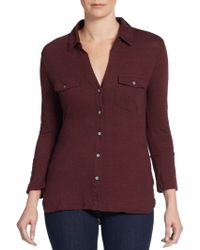 James Perse Button Front Cotton Top - Lyst