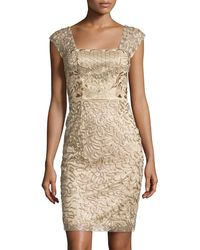 Sue Wong Embroidered Cap-Sleeve Dress gold - Lyst