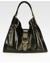 Gucci Stirrup Medium Python Tophandle Bag - Lyst