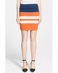 T By Alexander Wang Engineered Stripe Pencil Skirt - Lyst