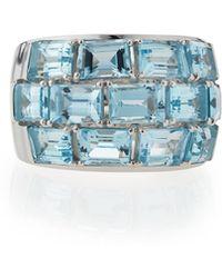 Poiray - 18k White Gold Blue Topaz Statement Ring - Lyst