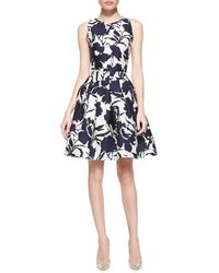 Oscar de la Renta Sleeveless Floral Fit-and-flare Dress - Lyst