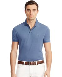 Ralph Lauren Black Label Mesh Zip Collar Polo Shirt blue - Lyst