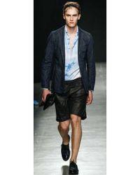 Bottega Veneta - Bonded Leather & Silk Crepe Shorts - Lyst