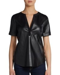 Twelfth Street by Cynthia Vincent Printed Silk Paneled Faux Leather Top - Lyst