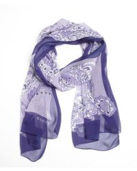 Gucci Purple Silk Floral Rolled Scarf - Lyst
