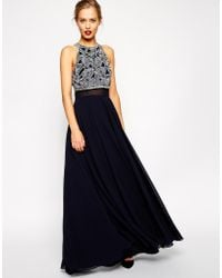 Asos Maxi Dress with Embellished Crop Top - Lyst