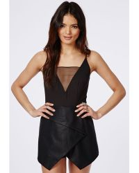 Missguided Strappy Leather Look Skort Playsuit Black - Lyst