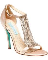 Betsey Johnson Rhinestone Mesh T-Strap Sandals - Lyst