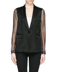 Sandro 'Valone' Organza Sleeve Linen Blazer black - Lyst