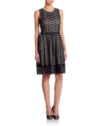 Eliza J Belted Lace Fit And Flare Dress - Lyst