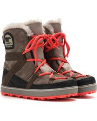 Sorel Glacy Explorer Shortie Suede Boots - Lyst