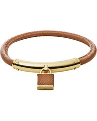 Michael Kors Logo Padlock Leather Bracelet - Lyst