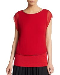 Elie Tahari Alexis Layered Silk Blouse red - Lyst