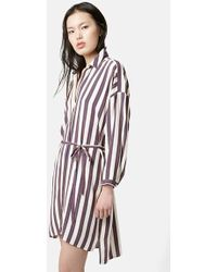 Topshop Tie Waist Shirtdress brown - Lyst