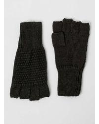 TOPMAN - Dark Green Textured Fingerless Gloves - Lyst