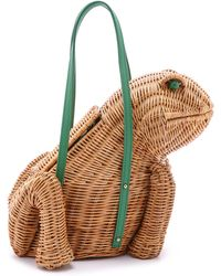 Kate Spade Spring Forward Wicker Frog Bag - Natural/Sprout Green - Lyst