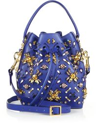 Sophie Hulme Crystal-Embellished Small Drawstring Bucket Bag - Lyst