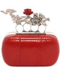 Alexander McQueen Cherry Blossom Glossy Ayers Short Knuckle Box Clutch - Lyst