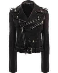 Alexander McQueen Studded Grainy Leather Biker Jacket - Lyst