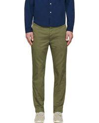 Visvim Olive Slim Chino Trousers - Lyst