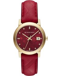 Burberry City Diamond Goldtone Stainless Steel  Check-embossed Leather Strap Watch - Lyst