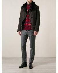 Giorgio Armani Relief Shearling Jacket - Lyst