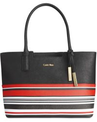 Calvin Klein   Striped Saffiano Tote   Lyst
