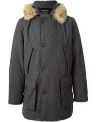 Woolrich Padded Faux Fur Trim Coat - Lyst