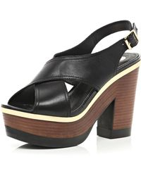 River Island Black Cross Strap Wooden Platform Sandals - Lyst