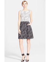 Oscar de la Renta Embroidered Two-Tone Tweed Dress - Lyst