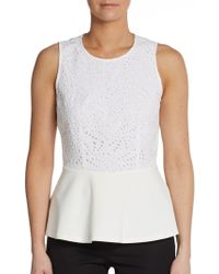 Rebecca Taylor Sleeveless Eyelet Peplum Top - Lyst