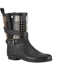 Burberry Studded Holloway Check Rain Boots - Lyst