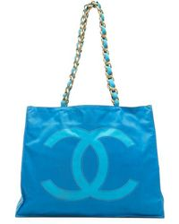 Chanel Preowned Blue Nylon Cc Large Shopper Tote - Lyst