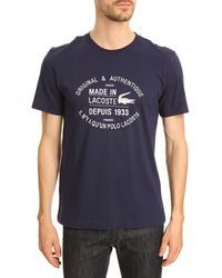 Lacoste Navy Roundneck T-shirt with White Writing - Lyst