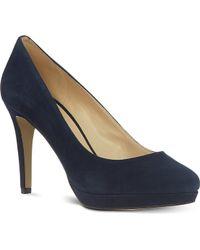 Nine West Beautie Suede Court Shoes Navy - Lyst