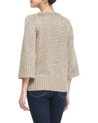 Michael Kors Ribtrim Metallic Sweater - Lyst