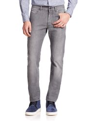 Z Zegna Straight-Fit Stretch Cotton Jeans gray - Lyst