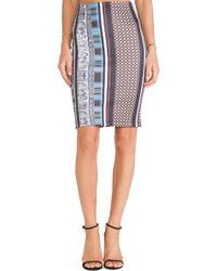 Clover Canyon Library Stripe Neoprene Fitted Skirt - Lyst