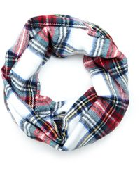 Betsey Johnson Lace Trim Plaid Infinity Scarf - Lyst