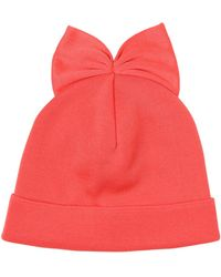 Federica Moretti Ribbed Cotton Beanie Hat With Bow - Lyst